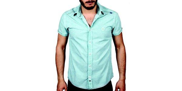 Pánska svetlo modrá košeľa s krátkym rukávom RNT23