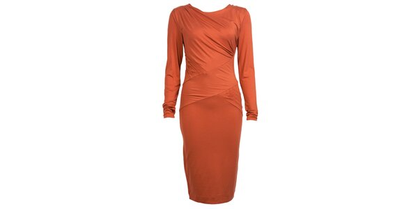 Dámske oranžové šaty s dlhými rukávmi CeMe London