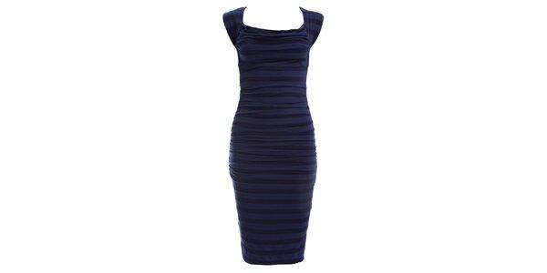 Dámske tmavo modré pruhované šaty so skladmi CeMe London