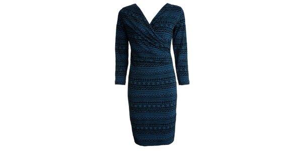 Dámske čierno-modro vzorované šaty CeMe London