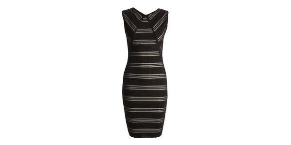 Dámske čierne šaty s prúžkami CeMe London