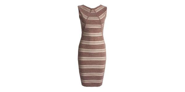 Dámske hnedé šaty s prúžkami CeMe London