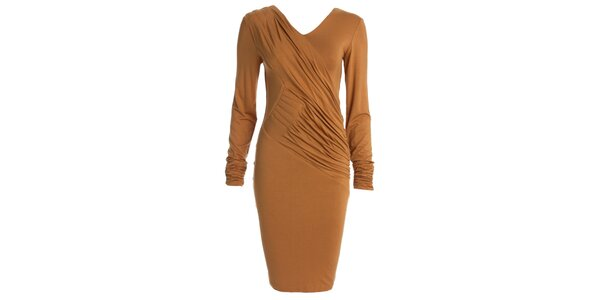 Dámske béžové šaty s dlhým rukávom CeMe London