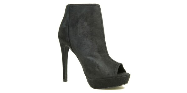 Dámske tmavé topánky na opätku s otvorenou špičkou London Rebel