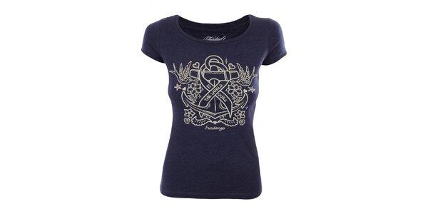 Dámske modré tričko s pirátskou potlačou Fundango