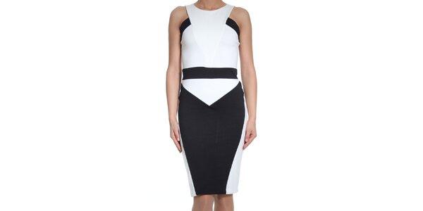 Dámske čierno-biele šaty bez rukávov SforStyle