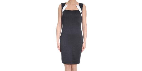 Dámske čierne šaty s bielymi prvkami SforStyle