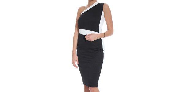 Dámske čierno-biele šaty s voľným ramenom SforStyle