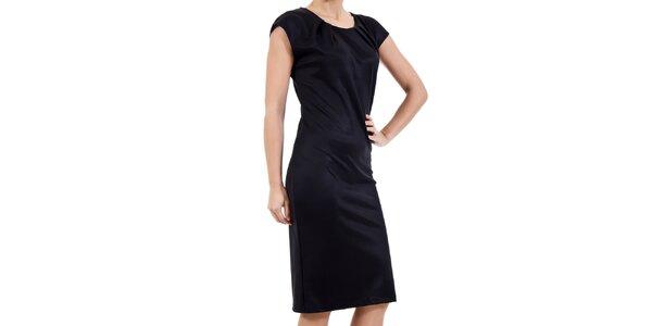 Dámske čierne šaty s krátkym rukávom SforStyle