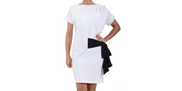Dámske biele šaty s čiernou mašľou SforStyle