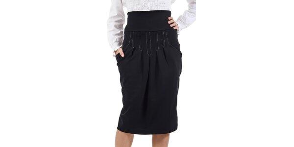 Dámska čierna sukňa s vysokým pásom SforStyle