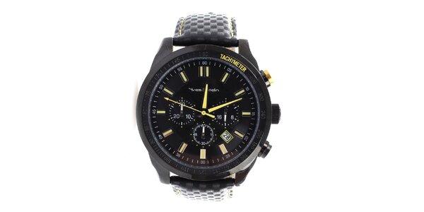 Pánske čierne hodinky s koženým remienkom Yves Bertelin