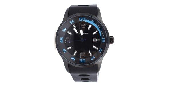 Pánske čierne hodinky s modrými detailmi Yves Bertelin