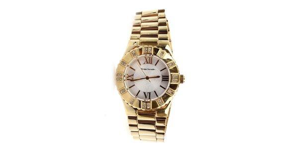 Dámske zlaté hodinky s rímskymi číslicami a kamienkami Yves Bertelin