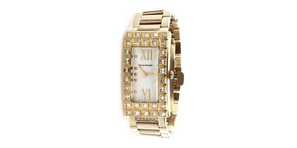 Dámske zlaté hodinky s obdĺžnikovým púzdrom Yves Bertelin
