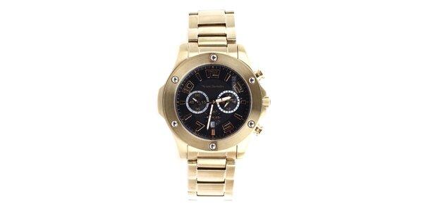 Pánske zlaté hodinky s čiernym ciferníkom Yves Bertelin