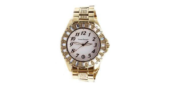 Dámske zlaté hodinky zdobené kamienkami Yves Bertelin
