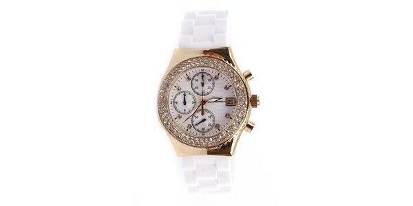 Dámske strieborné hodinky s bielym remienkom Yves Bertelin