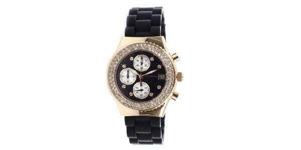 Dámske zlaté hodinky s čiernym remienkom Yves Bertelin