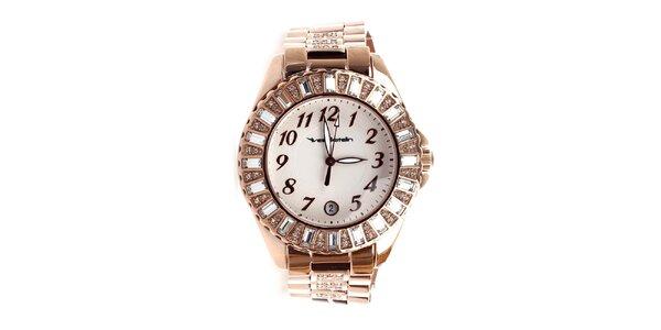 Dámske hodinky s efektom ružového zlata zdobené kamienkami Yves Bertelin