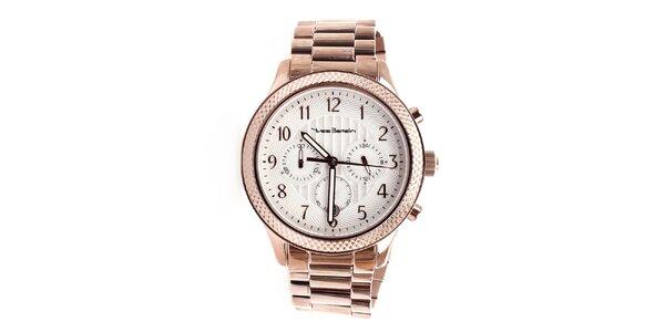 Pánske hodinky s efektom ružového zlata Yves Bertelin