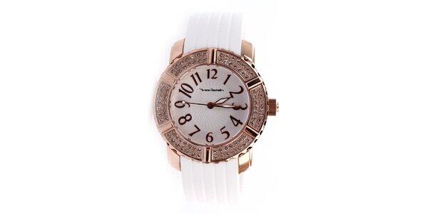Dámske hodinky s bielym gumovým remienkom Yves Bertelin