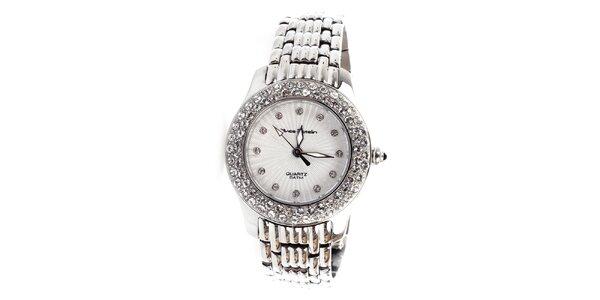 Dámske strieborné hodinky s kamienkami Yves Bertelin