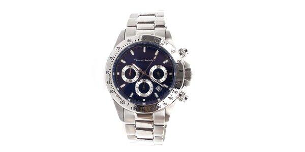Pánske hodinky z nerezovej ocele s tmavo modrým ciferníkom Yves Bertelin
