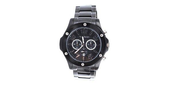 Pánske čierne hodinky s chronografom Yves Bertelin