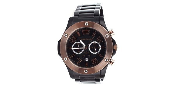 Pánske čierne hodinky s bronzovými prvkami Yves Bertelin