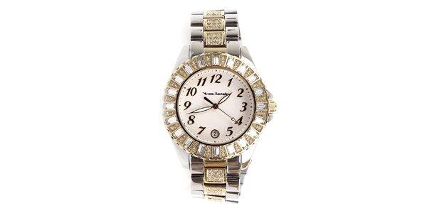 Dámske hodinky so zlatými prvkami a kamienkami Yves Bertelin