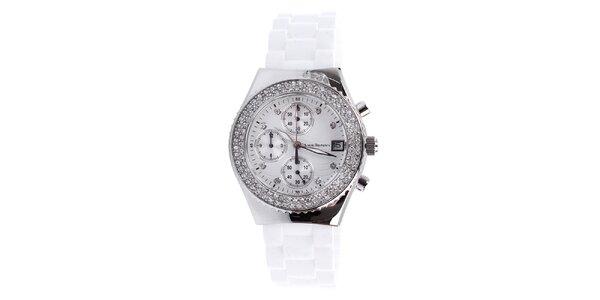 Dámske biele hodinky s bielymi kamienkami Yves Bertelin