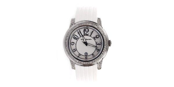 Dámske analógové hodinky s bielym remienkom Yves Bertelin