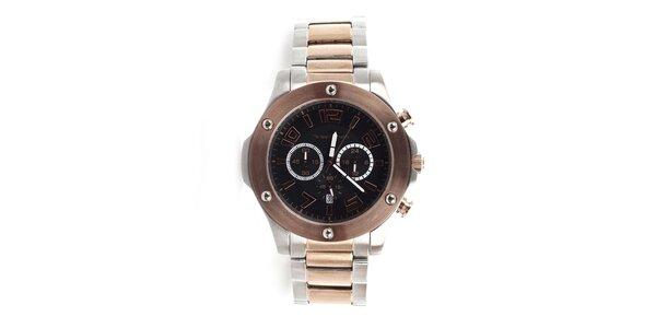 Pánske strieborno-zlaté hodinky s hnedou lunetou a chronografom Yves Bertelin