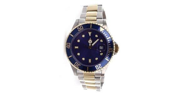 Pánske oceľové hodinky s modrým ciferníkom Yves Bertelin