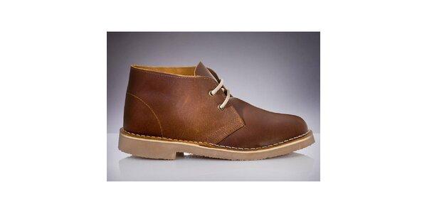 Pánske hnedé členkové topánky Roamers