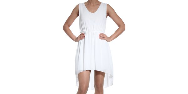 Dámske biele asymetrické šaty SforStyle