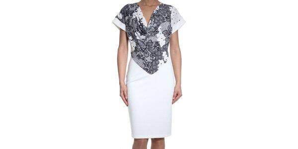 Dámske biele šaty s čipkovanou potlačou SforStyle