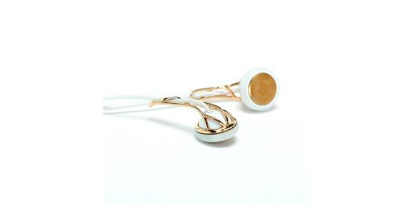 Biele sluchátka so zlatými prvkami Frends