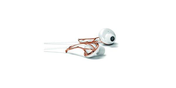 Biele sluchátka s ružovo zlatými prvkami Frends