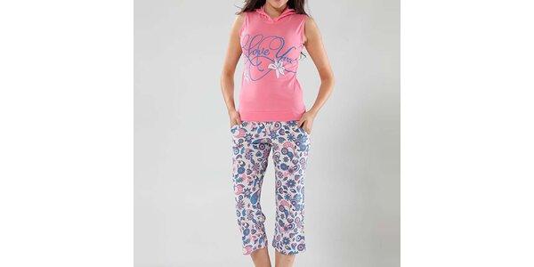 Dámske pyžamo Fagon - ružový top a vzorované nohavice