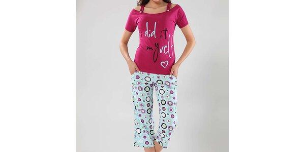 Dámske pyžamo Fagon - fuchsiový top a vzorované nohavice