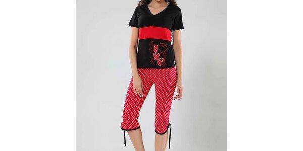 Dámske pyžamo Fagon - čierne tričko a červené nohavice