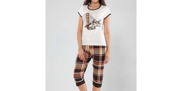 Dámske pyžamo Fagon - top s potlačou a vzorované nohavice