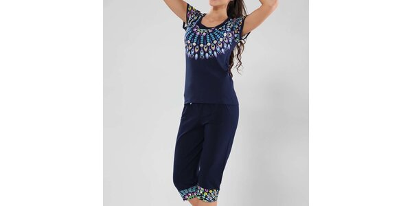 Dámske tmavo modré pyžamo s farebným vzorom Fagon
