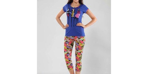 Dámske pyžamo Fagon - modré tričko a vzorované nohavice