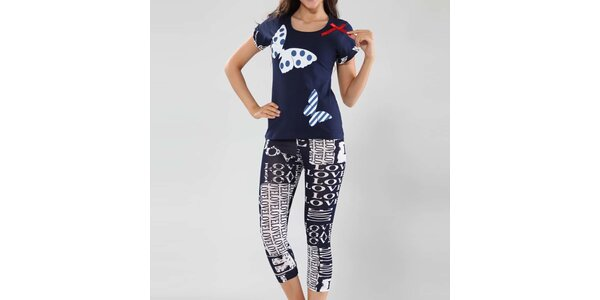 Dámske pyžamo Fagon - tričko s motýlikmi a nohavice s nápismi