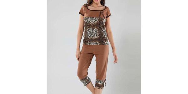 Dámske hnedé pyžamo s leopardím vzorom Fagon
