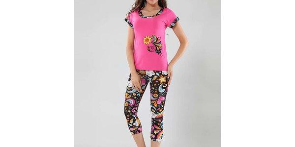 Dámske pyžamo Fagon - ružové tričko a vzorované nohavice