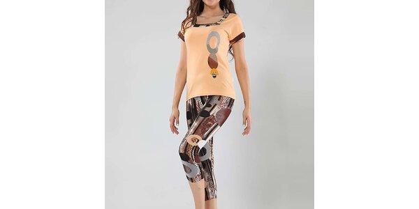 Dámske pyžamo Fagon - broskyňové tričko a vzorované nohavice